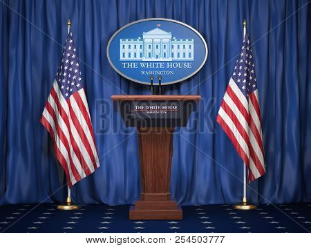 Briefing of president of US United States in White House. Podium speaker tribune with USA flags and sign of White Houise. Politics concept. 3d illustration