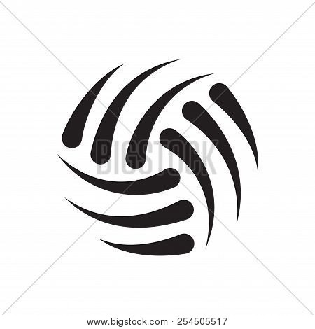 Black Abstract Volleyball Ball Silhouette Isolated On White Background