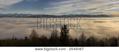 Alpine Sunset Above Fog Layer