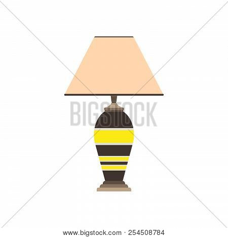 Flat Bed Lamp Apartment Vector. Bedding Living Room Interior Furniture Home. Wooden Table Night Brig