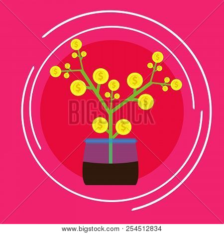 Business Banking Finance Money Growth Invest Vector. Dollar Symbol Profit Sign Concept Paymeny Savin