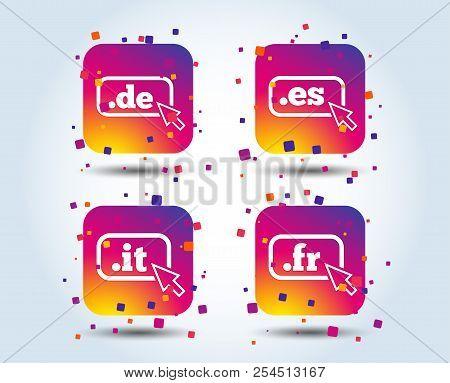 Top-level Internet Domain Icons. De, It, Es And Fr Symbols With Cursor Pointer. Unique National Dns