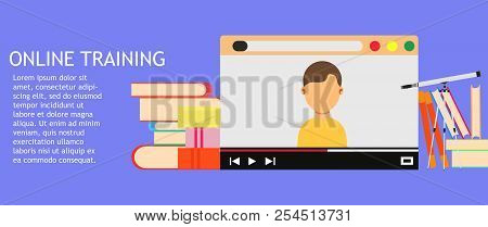Online Training Education Business Technology. College Web Library Course Vector. Webinar Video Icon