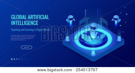 Isometric Artificial Intelligence Concept. Technology And Engineering. Teaching And Learning In Digi