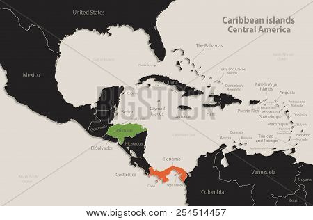 Caribbean Islands Central America Map Black Colors Blackboard Separate States Individual Vector