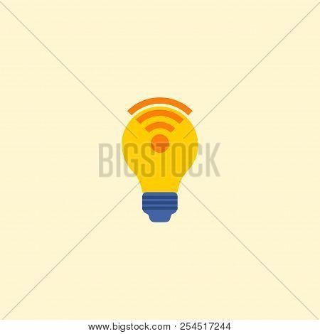 Lightbulb Wifi Icon Flat Element. Vector Illustration Of Lightbulb Wifi Icon Flat Isolated On Clean