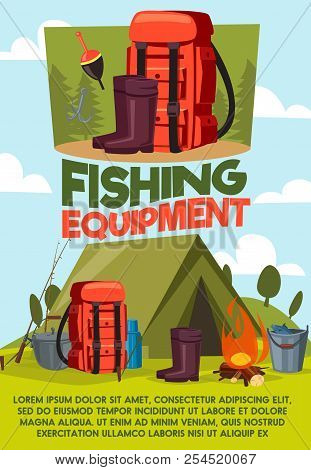 Fishing Equipment Poster Of Fisherman Camping And Tackles Items. Vector Cartoon Design Of Tent, Rubb