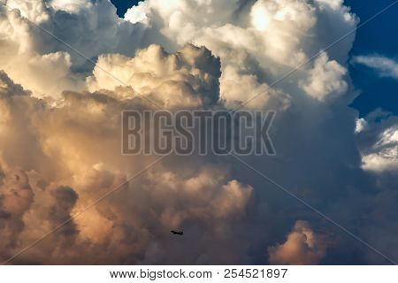 Monsoon Storm Clouds Approaching Scottsdale And Mesa, Arizona From The Northeast With A Commercial A