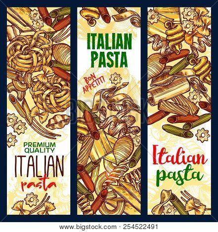 Italian Pasta Sketch Banners. Vector Design Of Ravioli, Gnocchi Or Ditalini And Rotelle, Tortellini