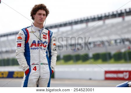 August 18, 2018 - Long Pond, Pennsylvania, USA: MATHEUS LEIST (4) of Brazil hangs out on pit road prior to practice for the ABC Supply 500 at Pocono Raceway in Long Pond, Pennsylvania.