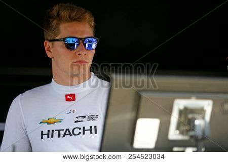 August 18, 2018 - Long Pond, Pennsylvania, USA: JOSEF NEWGARDEN (1) of the United States hangs out on pit road prior to qualifying for the ABC Supply 500 at Pocono Raceway in Long Pond, Pennsylvania.
