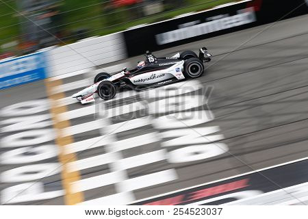 August 18, 2018 - Long Pond, Pennsylvania, USA: GRAHAM RAHAL (15) of the United States takes to the track to practice for the ABC Supply 500 at Pocono Raceway in Long Pond, Pennsylvania.