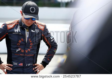 August 18, 2018 - Long Pond, Pennsylvania, USA: ZACH VEACH (26) of the United Stated take to the track for the ABC Supply 500 at Pocono Raceway in Long Pond, Pennsylvania.