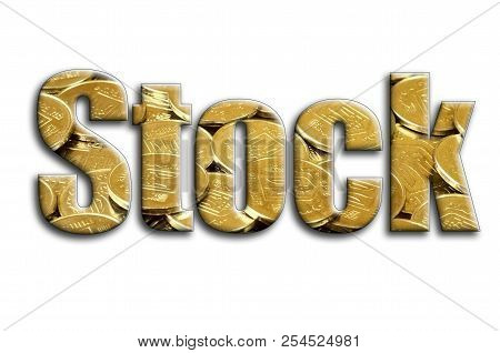 Stock. The Inscription Has A Texture Of The Photography, Which Depicts A Lot Of Ukrainian Coins