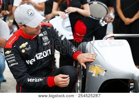 August 18, 2018 - Long Pond, Pennsylvania, USA: WILL POWER (12) of Australia wins the pole for the ABC Supply 500 at Pocono Raceway in Long Pond, Pennsylvania.