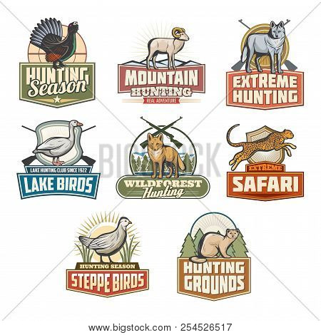 Hunting Open Season Icons Of Wild Animals And Birds For Safari Hunt Adventure. Vector Set Of African