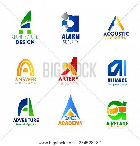 Letter A Icons For Company Corporate Identity In Architecture Design, Alarm Security And Audio Syste