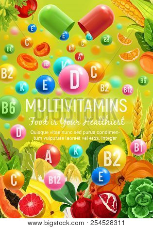 Multivitamins In Natural Fruits, Cereals And Vegetables For Healthy Food. Vector Poster For Vitamin