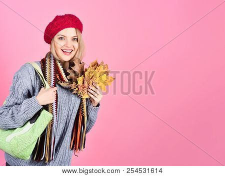 Autumn. Autumn Mood. Nature. Smiling Woman With Maple Leaf. Yellow Maple Leaf. Excited Woman With Au