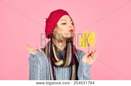 Autumn. Sensual Woman With Maple Leaf. Woman With Autumn Leaf. Yellow Maple Leaf. Woman In Red Hat H