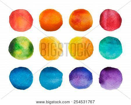 Bright Watercolor Circles Set. Rainbow Watercolour Stains Collection. Vector Illustration
