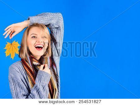 Autumn Background. Autumn Time. Smiling Woman With Yellow Leaf. Yellow Maple Leaf. Autumn Fashion. W