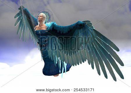 Angel Michael In Flight 3d Illustration - Rays Of Sunlight Shine Down On Archangel Michael As He Fli