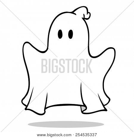 Hovering cartoon Ghost or Ghost on Halloween