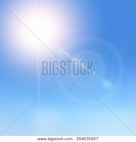 Realistic Sunlight On A Blue Sky. Shining Beige Vector Golden Sun Light Effects. Flares And Gleams S