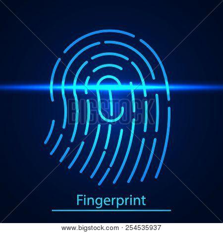 Fingerprint  Technology Scanning Identification System Of Digital Security System Electronic. Finger