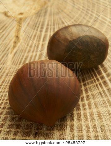 Fresh Chestnuts on Wood