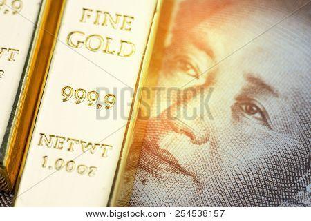 China National Gold Reserve Concept, Shiny Gold Bar Bullion Ingot On Chinese Yuan Banknote Money Wit
