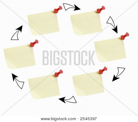 Sticky Note Circle W Arrows