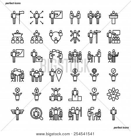 Business Cooperation Outline Icons Perfect Pixel. Use For Website, Template,package, Platform. Conce