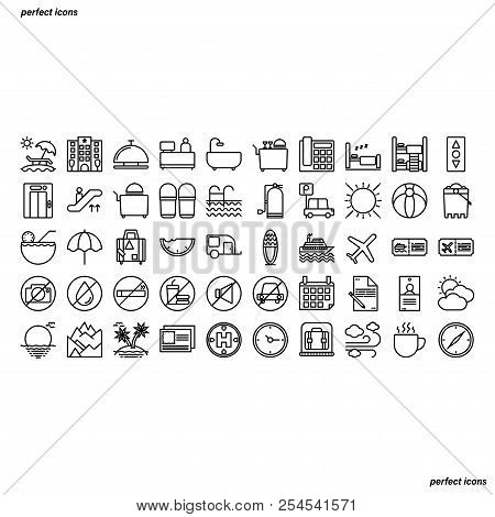 Hotel And Travel Outline Icons Perfect Pixel. Use For Website, Template,package, Platform. Concept B