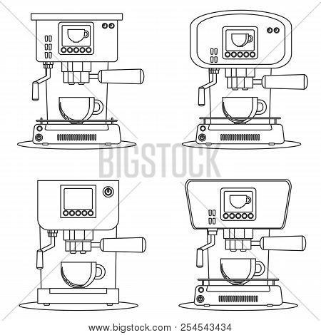 Coffee Maker Machine Icon Flat. Set. Simple Stock Flat Vector Illustration.