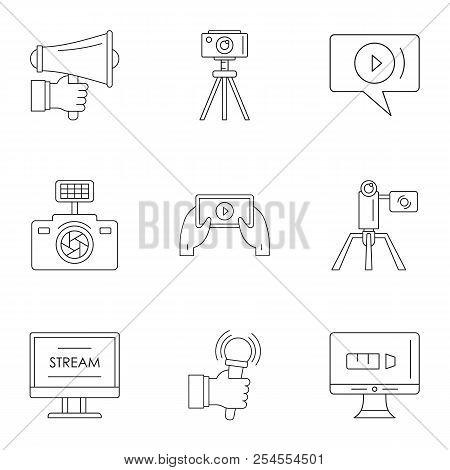 Blockbuster Icons Set. Outline Set Of 9 Blockbuster Icons For Web Isolated On White Background