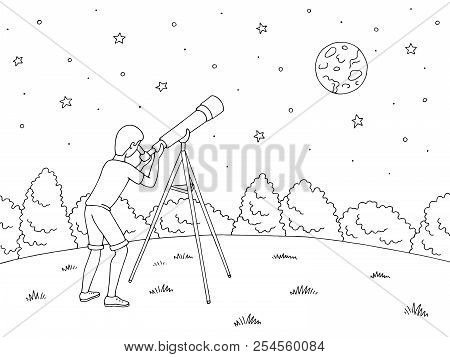 Boy Is Looking At The Stars Through A Telescope. Night Landscape Graphic Black White Landscape Sketc