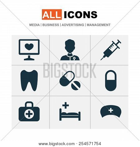 Medicine Icons Set With Syringe, Nurse Hat, Pill And Other Healer Elements. Isolated Vector Illustra
