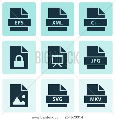 File Icons Set With Programming Language, Script, Image And Other Svg Elements. Isolated  Illustrati