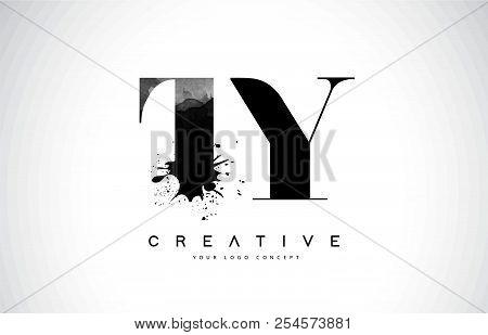 Ty T Y Letter Logo Design With Black Ink Watercolor Splash Spill Vector Illustration.