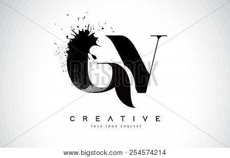 Gv G V Letter Logo Design With Black Ink Watercolor Splash Spill Vector Illustration.