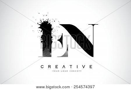 En E N Letter Logo Design With Black Ink Watercolor Splash Spill Vector Illustration.