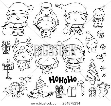 Christmas Vector Set In Black And White Outline Only