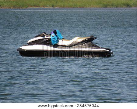 Jetski drifting on the sea without people