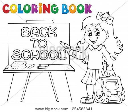 Coloring Book Happy Pupil Girl Theme 5 - Eps10 Vector Picture Illustration.