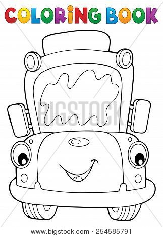 Coloring Book School Bus Theme 7 - Eps10 Vector Picture Illustration.