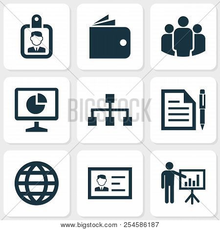Trade Icons Set With Global, Wallet, Business Presentation And Other Billfold Elements. Isolated Vec