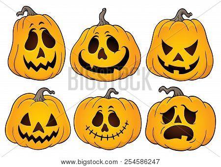 Halloween Pumpkins Theme Set 3 - Eps10 Vector Picture Illustration.
