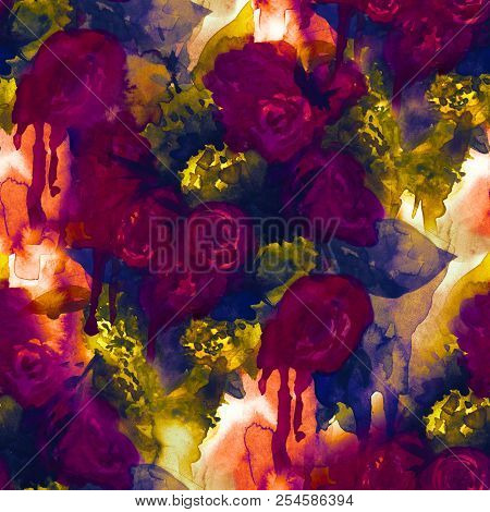 Seamless Pattern. Hand Painted Watercolor Background. Abstract Flowers. Bouquet Of Flowers, Rose, Pe